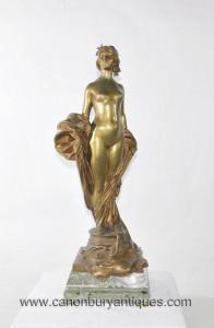 Antique Bronze Weiblicher Akt Figurine Statue unterzeichnete einen Seyssie circa 1900