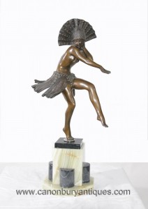 Art Deco Bronze Egyptian Dancer-Statue-Figürchen Colinet