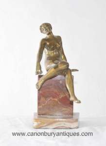 Art Deco Nude Female Figurine Marble Base-Naked Statue Onyx