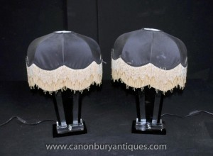 Art Deco Paar Glass Tischleuchten Leuchten Shades