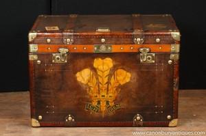 Einzel Victorian Dampfer-Stamm-Leder-Kasten-Kasten Coffee Table Beistelltische