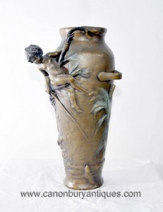 Französisch Jugendstil-Vase Cherub Signiert Moreau Urne