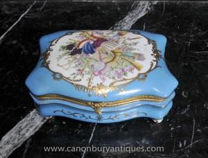 Französisch Sevres Porzellan Schmuck Floral Trinket-Kasten