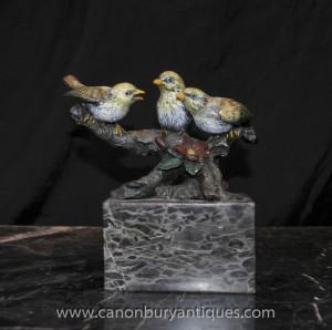Kalte Painted Trio Bronze Birds Wiener Bergmann