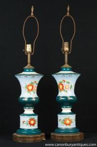 Paar Französisch Floral Porzellan Tischleuchten Leuchten