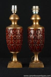 Paar Französisch Geschnitzte Ormolu Amphora Tischleuchten Leuchten
