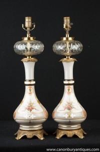 Paar Französisch Jugendstil-Porzellan-Kristallglas-Leuchten Tischleuchten