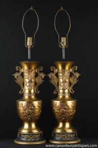 Paar Französisch Ormolu Jugendstil Tischleuchten Leuchten Urnen
