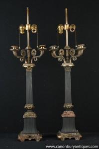 Paar Französisch Reich Column Lampen Candelabras Ormolu Kerzen Tischleuchte