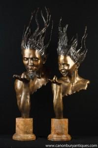 Pair Bronze Büsten J Prince Art Nouveau Männlich Weiblich Heads Signiert