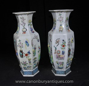 Pair Chinese Qianlong Keramik Urnen Vasen Porcelain Pottery China