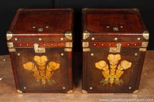 Pair Weinlese-Leder-Dampfer-Stamm Taschen Boxen Tabellen