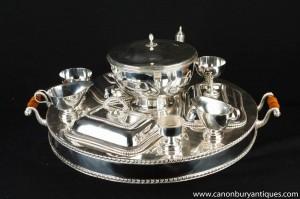 Victorian Sheffield silberne Platten Lazy Susan Dumb Waiter Dinner-Service