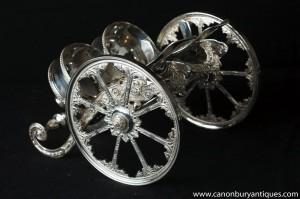 Victorian silberne Platten-Doppel Wine Basket Pourer Chariot