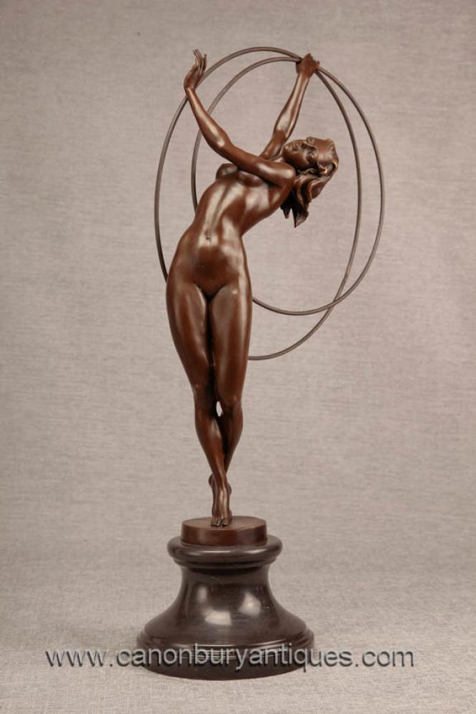Art Deco Bronze Hoop Dancer-Statue-Figürchen 1920er Flapper