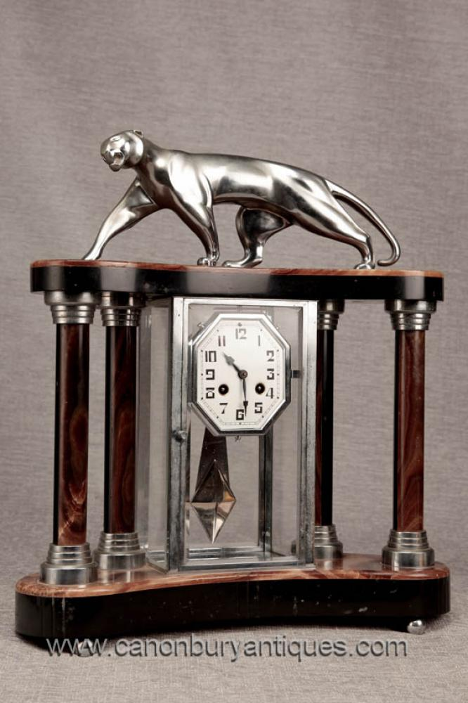 Art Deco Marble Chrome Mantle Clock Silber Patina Panther