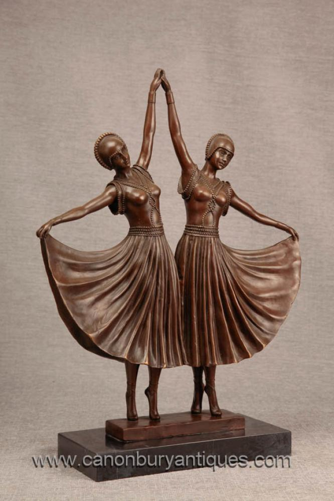 Art Deco Paar Twin Dancer Bronzefiguren von Chiparus