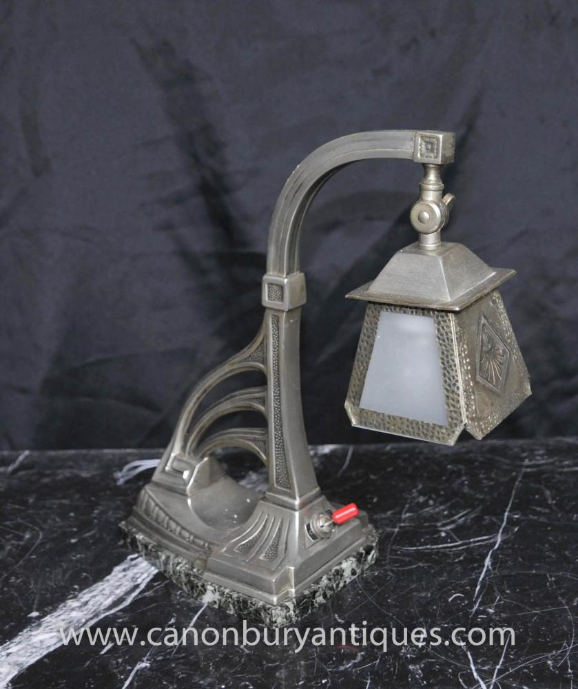 Art Nouveau silberne Platten-Table Lamp Light Pewter