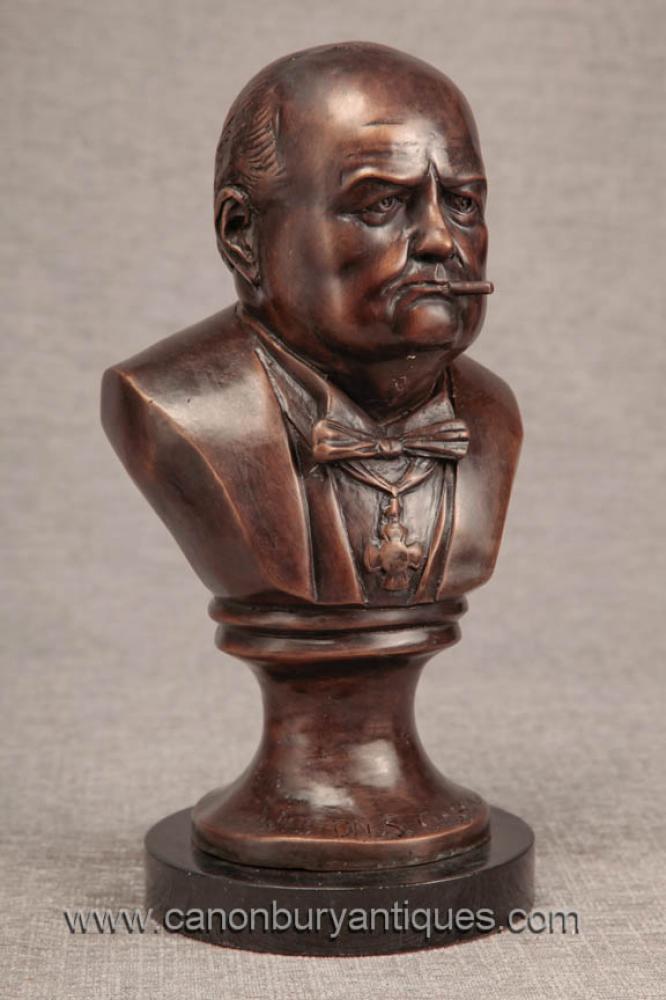 Bronze Büste britische Premierminister Winston Churchill Statue War Hero