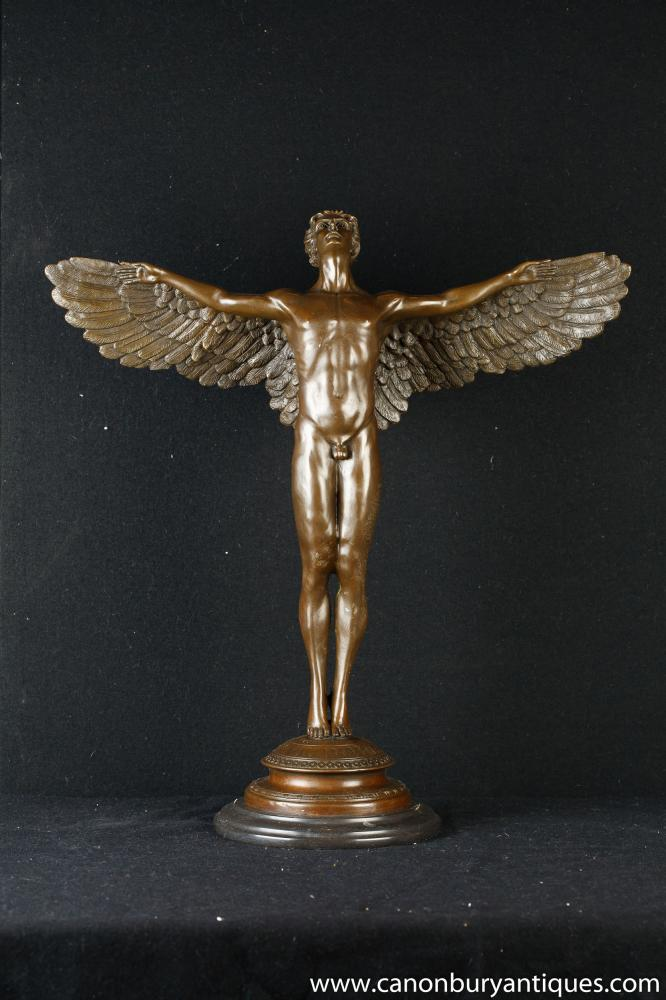 Bronzestatue von Winged Male Icarus Figurine Greek Myth
