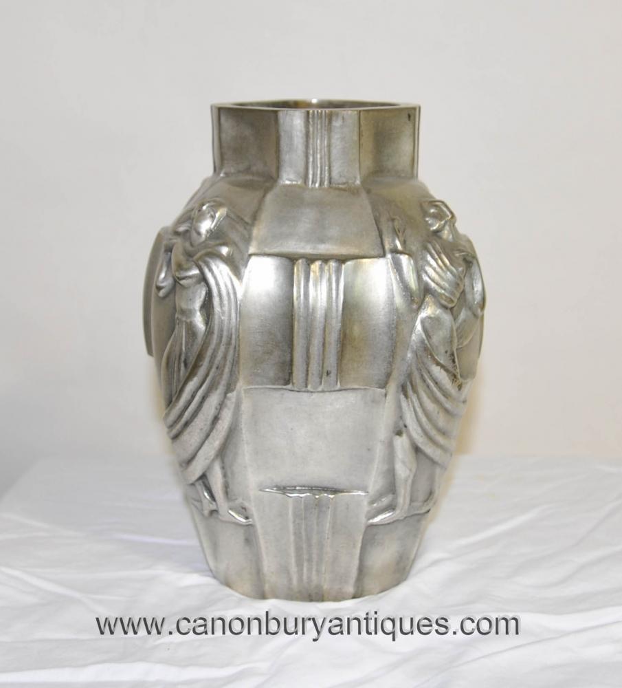 Französisch Art Deco Silber Bronze Urne Vase Lady Figurine