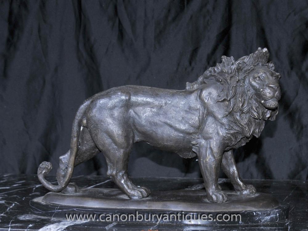 Französisch Bronze Lion Statue Casting Katzen Lions Tierskulpturen