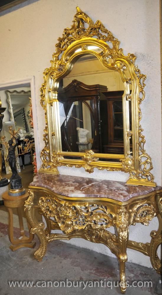 Französisch Louis XV Gilt Console Table Spiegel Set Halle Tabellen