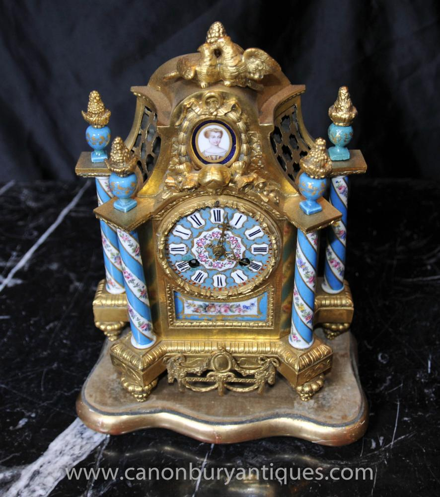 Französisch Ormolu Antik Mantle Clock Sevres Porcelain Clocks