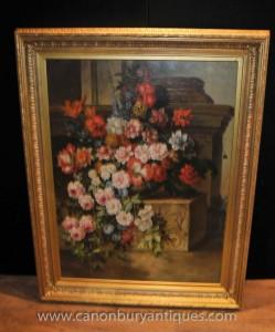 Große englischen viktorianischen Blumen-Stillleben Ölgemälde-Kunst