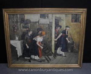 Große spanische Ölgemälde mit verbundenen Augen Portrait Rustic Scene Kunst