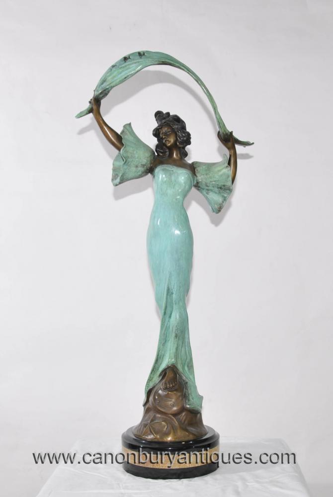 Jugendstil Bronze Stella Weiblich Figurine Statue Drapery Signiert