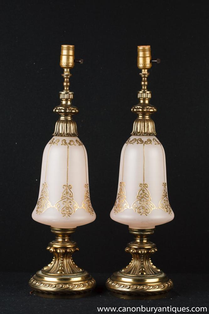 Paar Französisch Jugendstil Opaline Glass Tischleuchten Leuchten