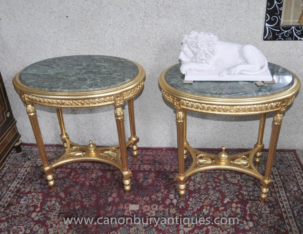 Paar Französisch Reich Gilt Beistelltische Occasional Table