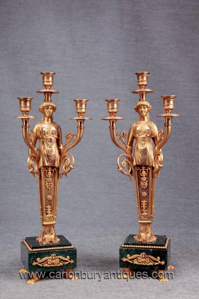Paar Französisch Reich Ormolu Marble Candelabras Candle Sticks
