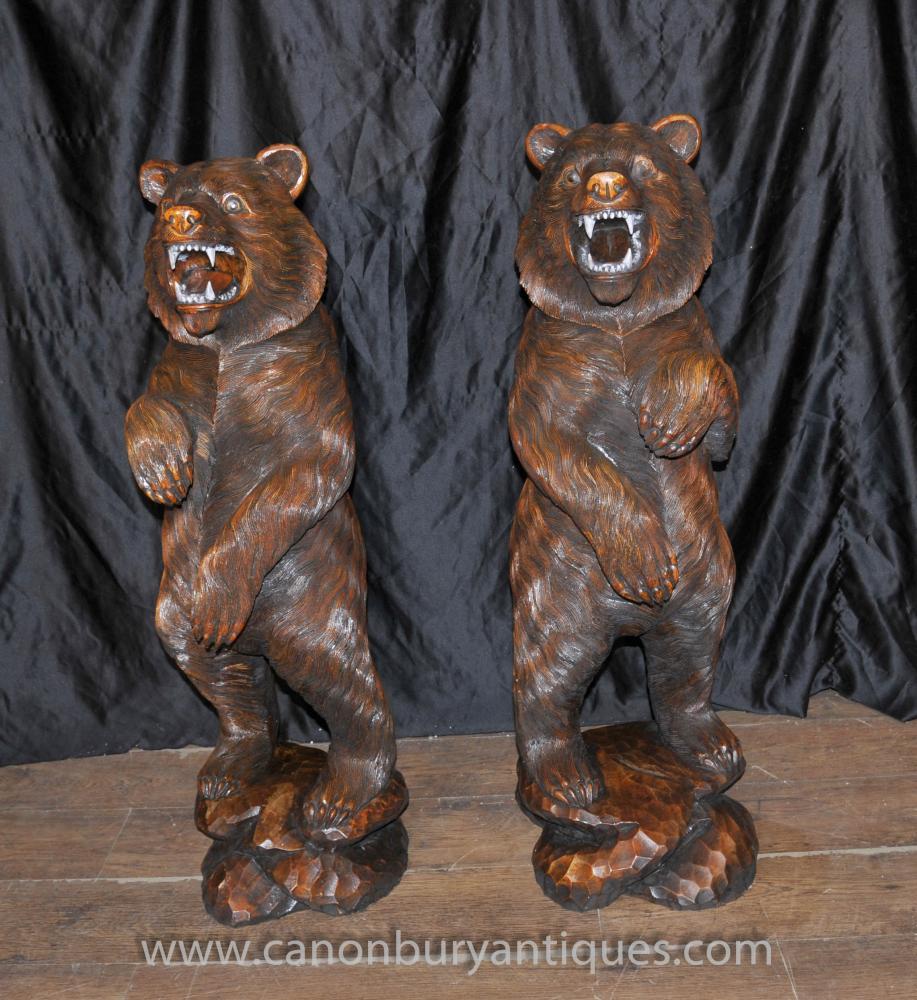 Paar deutsche Schwarzwald Hand geschnitzte Brown Bears Bär Statue