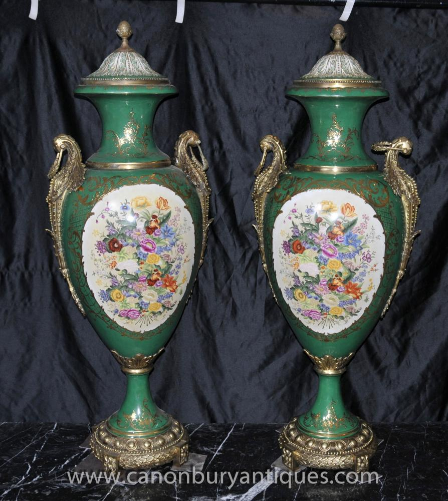 Pair Big Sevres Porcelain Floral Amphora Vasen Urnen