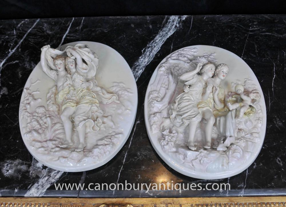 Pair Sevres Porzellan Cherub Relief Plaques Wall Plates Engel