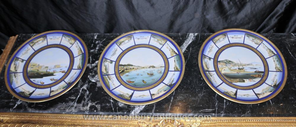 Set 3 Französisch Limoges Porzellanteller Maritime Szene Seascape Plaques