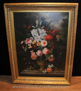 Victorian Floral Spray Ölgemälde Gilt Frame Stillleben Kunst