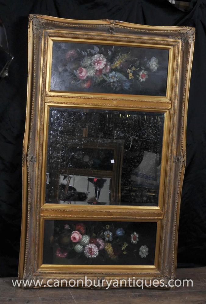 Victorian Mantle Spiegel Ölgemälde vergoldeten Rahmen Blumen-Stillleben
