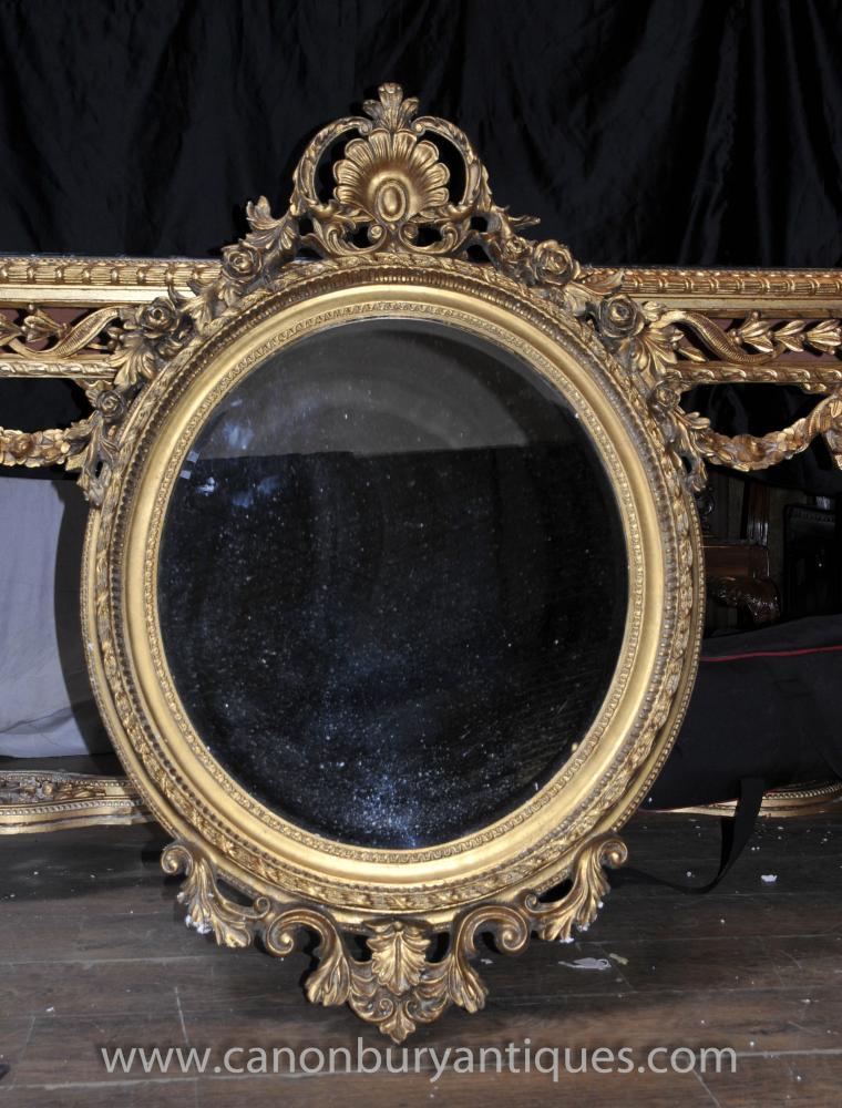 Victorian Rococo Gilt Oval Pier Spiegelglas Spiegel