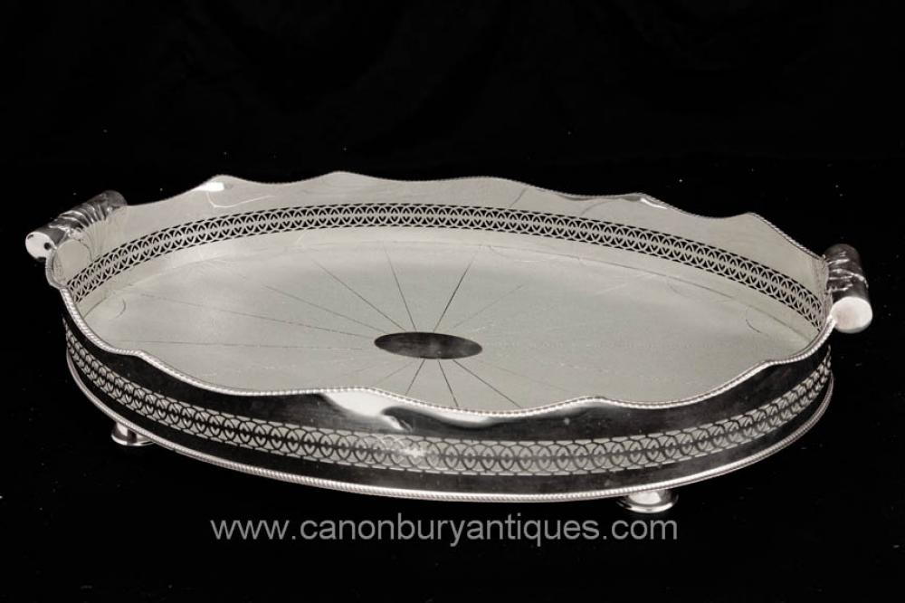 Victorian silberne Platten-Butlers Tray Shagreen Platter Silver