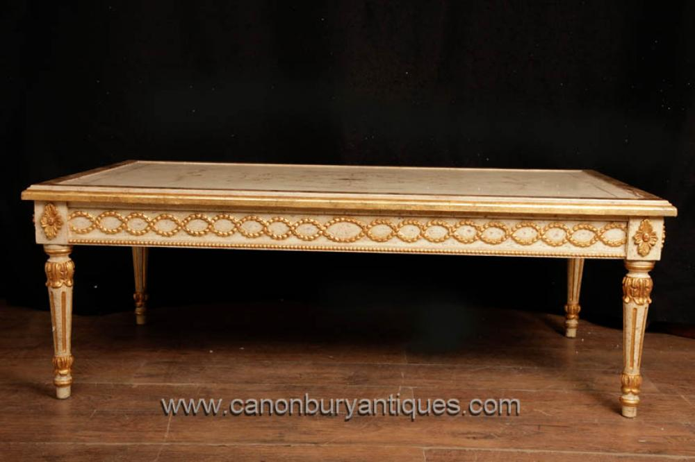 Antique Französisch Reich Painted Coffee Table Gilt