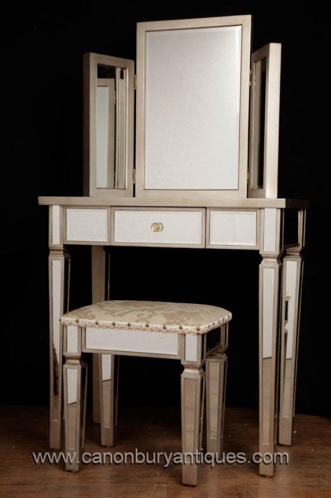 Art Deco Gespiegelte Dressing Table Stool Set Schlafzimmermöbel