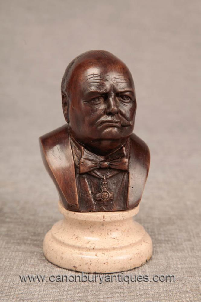 Charming Bronze Büste Winston Churchill Großbritannien Premierminister