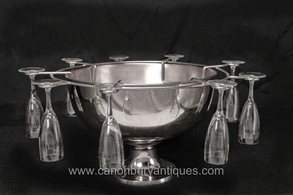 Englisch Sheffield silberne Platten-Champagne-Glas Ice Bucket Set Punch Bowl