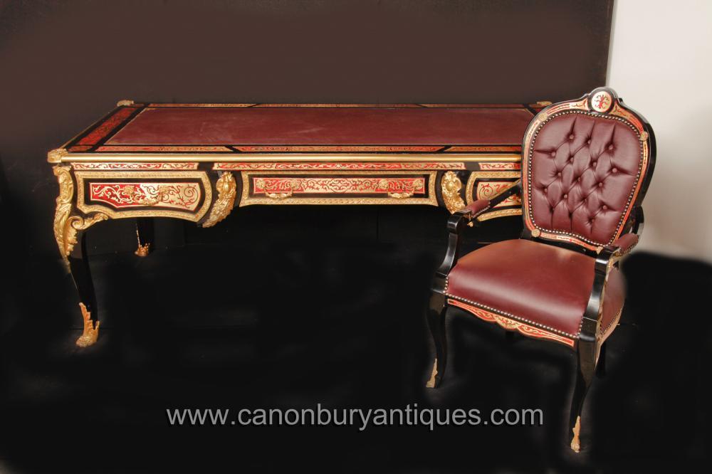 Französisch Boulle Schreibtisch Schreibtisch und Stuhl Set