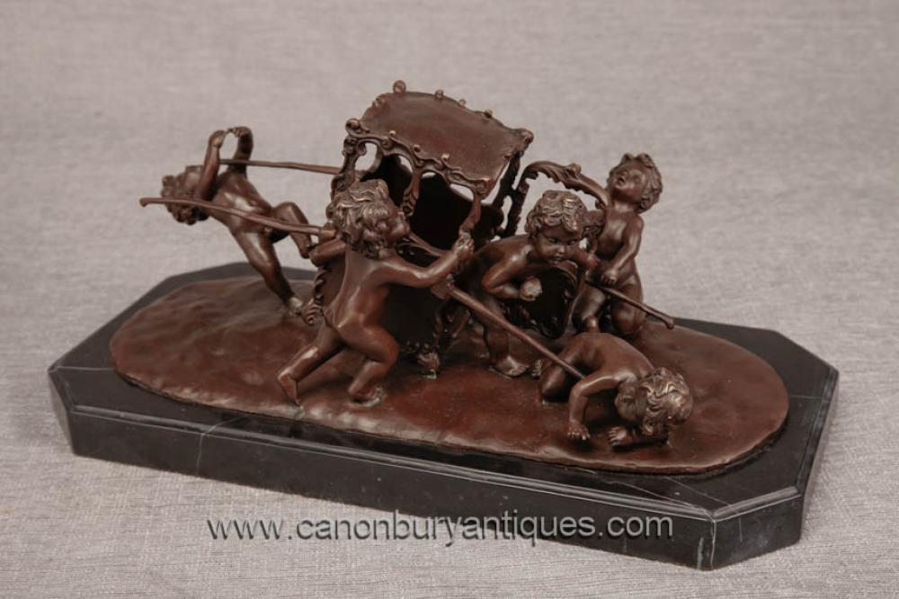 Französisch Bronze Cherub Statue Carriage Putti Cherubim