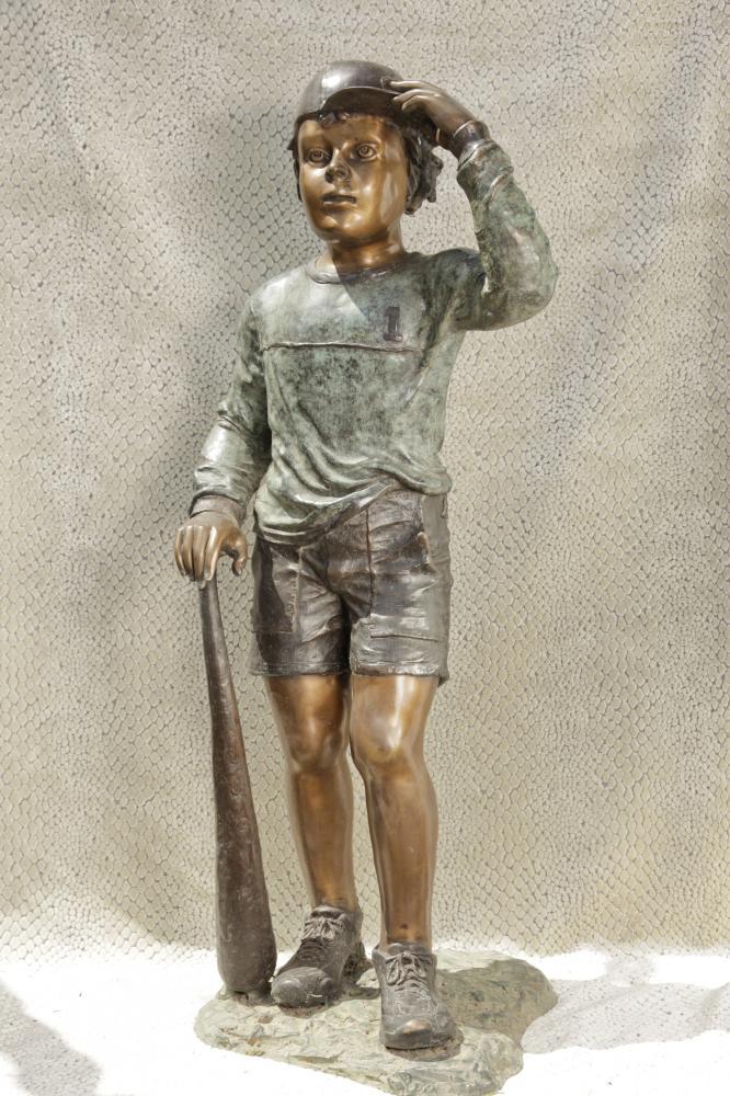 Lifesize Bronze Baseball Boy Statue Casting Major League Abbildung