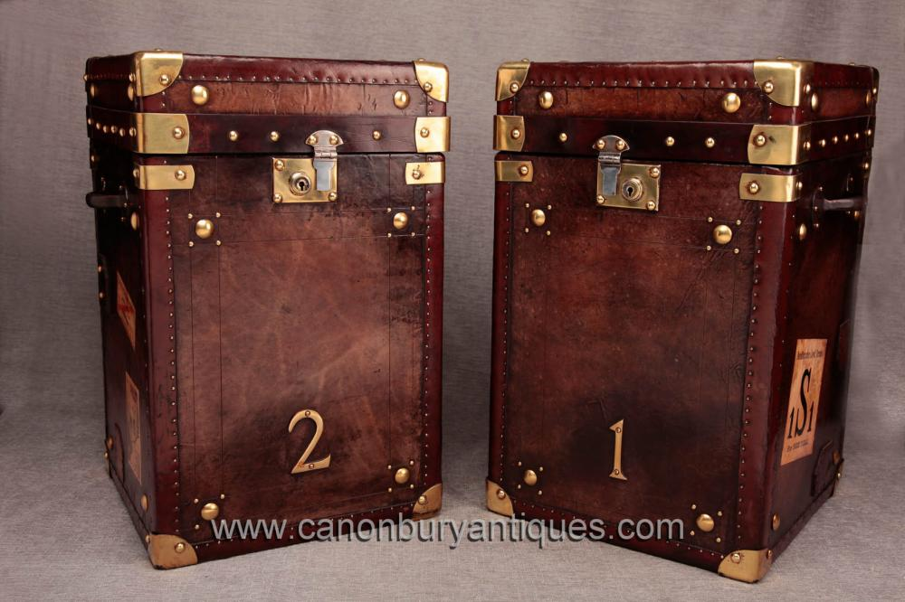 Paar Englisch Leder Weinlese-Dampfer-Stamm-Gepäckbox Tabellen